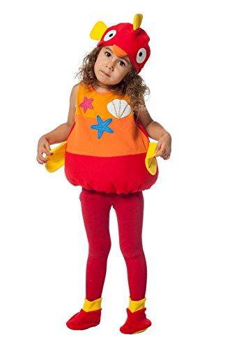 Jannes - Kinder-Kostüm Fisch, Rot Orange, Kleinkinder 92