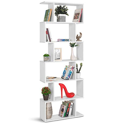 COMIFORT Estantería de Pared - Librería de Estilo Nórdico, Moderna y Minimalista, con 7 Baldas de Gran Capacidad, Robusta y Resistente, de Color Nordic