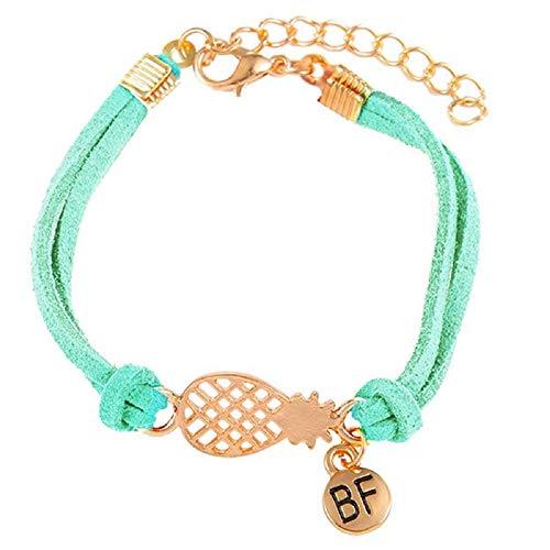 Imagen de strass & paillettes pulsera de gamuza sintética verde turquesa con una piña dorada y una medalla bf. pulsera de piña best friend. pulsera para su mejor amiga