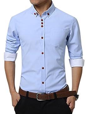 Uomo Slim Fit Camicia Manica Lunga Casual Chic Tinta Unita Camicia Azzurro chiaro XXXL