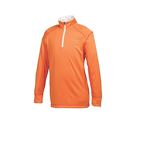 Puma Women's Juniors Golf Long Sleeve 1/4 Zip Top, Vibrant Orange, X-Large - Puma Junior Cell