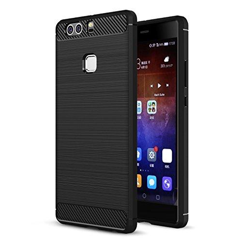 Huawei P9 Hülle Schwarz , ivencase Luxus Silikon Handyhülle Schutzhülle TPU Case Backcover Bumper Slimcase Etui Tasche für Huawei P9 5.2