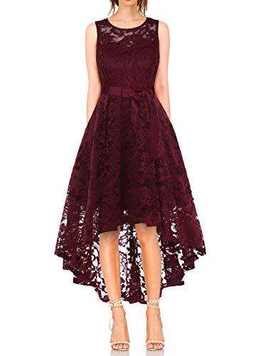 KT-SUPPLY Damen Elegant Schwingendes Kleid aus Spitzen Asymmetrisch Ärmellos Unregelmässig Abendkleider Festlich Cocktailkleider Ballkleid Pinup Rockabilly Party Brautjungfern Kleid Burgundy M
