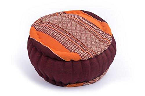 Cuscino Zafu per la meditazione, 35x20 cm circolare, arancio-marrone