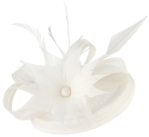 DEMU Fascinators Hut Damen Kopfschmuck Haar Clip Feder Kopfbedeckung für Party Kirche Hochzeit Cocktail Club Weiß (Kate Middleton Halloween-kostüm)