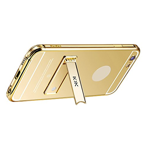 Skitic Peau Miroir Coque pour iPhone 6 / 6S 4.7 inch, Luxe Stainless Steel Metall Frame Bumper Ultra Thin Acrylic Mirror Reflective Effect Dur PC Phone Case Cover Shell Hull Protection Protecteurs Ret Or