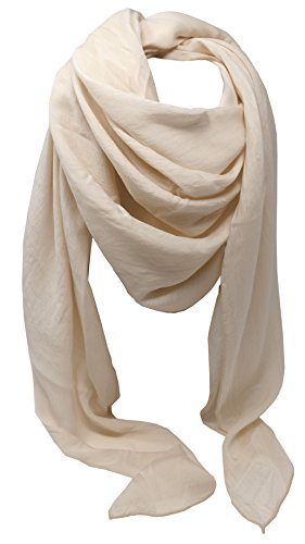 azzesso – Damen Tuch Barbara in Beige / einfarbiges Tuch aus Seide und Viskose / Unisex Tuch vom italienischen Mode Profi / Schal ca. 100 x 100 cm (Schal Seide Italienischer Damen)