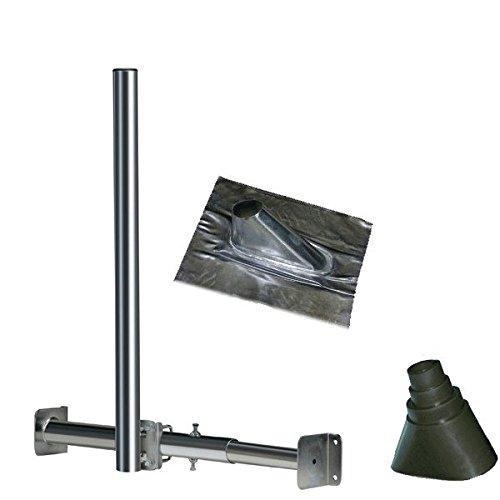 Dachsparrenhalter Set mit 120cm Mast ø 48mm + Dachabdeckung aus Blei + Gummimanschette Schwarz NEU