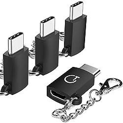 Gritin (pack 4) Llavero-Adaptador OTG compacto Micro USB (C) macho a USB (A) hembra