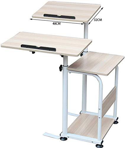 MJK Tisch, Home Desktop Stand Laptop Tisch, Multifunktions-Handy, mit Tastatur Mobiles Schreiben Massiver Chromrahmen - Werkbank,Ahorn Farbe -