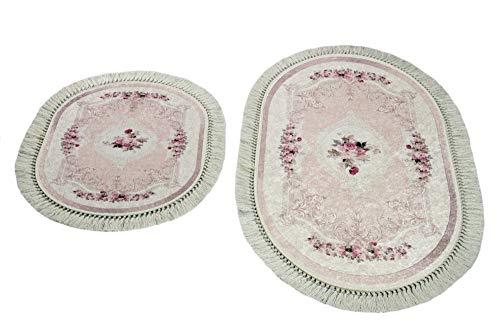 Badematte Badgarnitur Set 2-teilig Duschvorleger Badvorleger mit Blumen Muster Größe 60x100 cm + 50x60 cm Oval