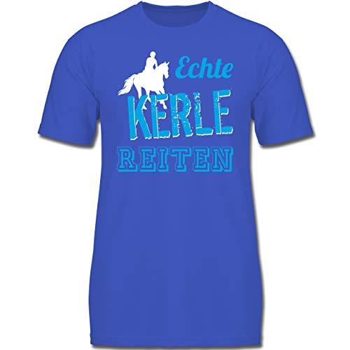Sport Kind - Echte Kerle reiten - 152 (12-13 Jahre) - Royalblau - F130K - Jungen Kinder T-Shirt