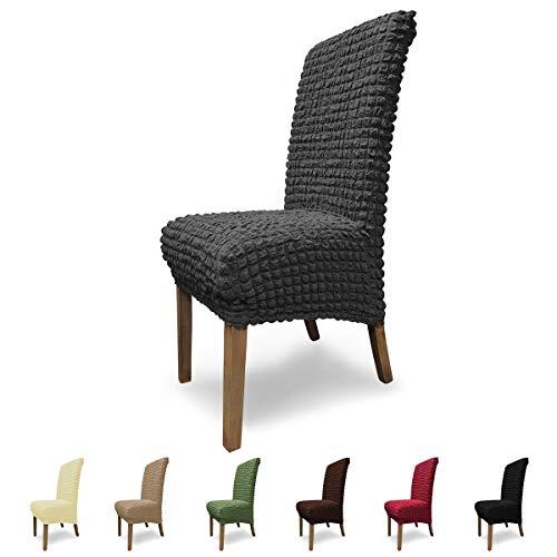 Housses de chaises SCHEFFLER-Home Julia 2 Set, élastiques Couverture Stretch, Couvre revêtement de Chaise, Anthracite