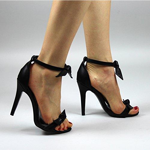 Donna Quasi Lì Punta Aperta Tacco Alto Arco Ritagliare Cinturino Alla Caviglia Tacchi A Spillo Nero