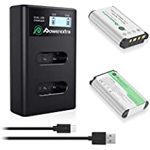Powerextra 2 Baterías para Sony NP-BX1 Batería con Cargador de Pantalla LCD para Sony NP-BX1/M8 y Sony Cyber-Shot DSC-RX100, DSC-RX100 II, DSC-RX100 III, DSC-RX100 V, DSC-RX100 IV, HDR-CX405