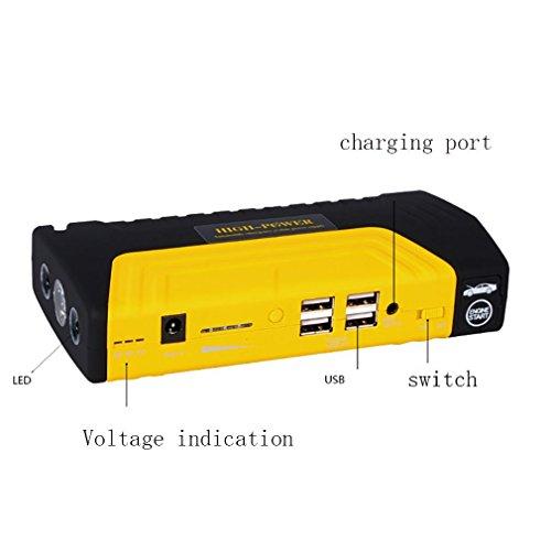 WJJ- Portable Car Jump Starter 16800mAh 12-Volt 600A pico de amperio, Jumpstarter de la batería del coche, banco de energía de emergencia Built-In LED Linterna