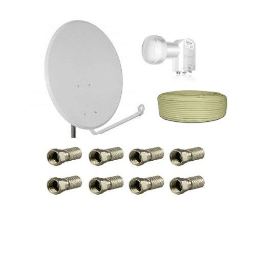 PremiumX Antenne 80cm Stahl , Digital Sat Schüssel Spiegel Hellgrau + Opticum Quad LNB 0,1dB + 50m PremiumX Koaxial Kabel 130dB 4 fach geschirmt Sat Kabel Antennenkabel + 8 x F-Stecker 7,5mm mit Gummidichtung Gratis !!!