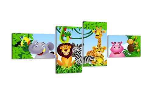 wandmotiv24 Leinwandbild Animal Group LW404 Wandbild, Bild auf Leinwand, 4 Teile, 100x45cm, Kunstdruck Canvas, XXL Bilder, Keilrahmenbild, fertig aufgespannt, Bild, Holzrahmen, Urwald, Tiere, Kinder, -