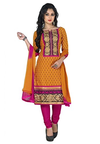 SALWAR HOUSE Orange & Pink unstitched Cotton Embroidered Dress Material for women with Patiala Salwar Suit Dupatta-SHRGPEHNAWA-9336