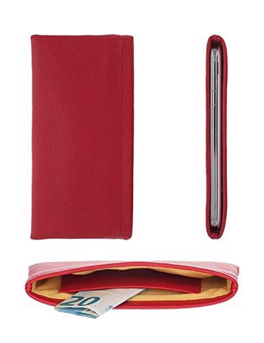 luvbag DesignX rot Handytasche Hülle Tasche aus Leder mit Microfaserinnenfutter und Innentasche z.B. für Geldscheine für Samsung SGH-Z170 Handyhülle