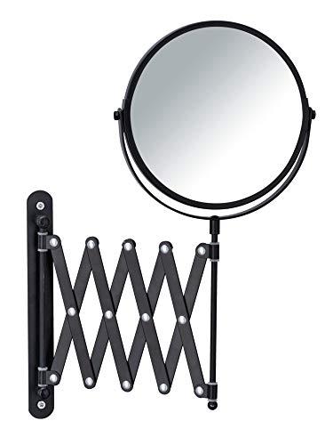 Wenko Khalia-Foto-Espejo de Pared telescópico 3, 16 cm de diámetro, Aumento del 300%, Metal, Negro...