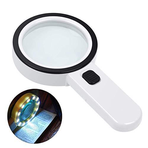 Leselupe Senioren Lupe mit Licht Eye Care Magnifier 10X Handlupe Beleuchtet zum Lesen groß Verzerrungsfreier Leselupe mit Doppelglaslinse für Senioren Lesen,Kleingedruckten, Prüfen