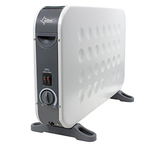 SUNTEC Heizkonvektor Heat Flow 2000 Design white [Für Räume bis 60 m³ (~25 m²), 3 Heizstufen, Regulierbares Thermostat, Freistehend/Wandmontage, 3 Farben, 2000 Watt]