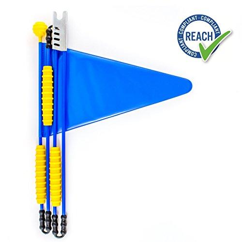 Cycley | Fahrradwimpel | Fahrradfahne für Kinderfahrrad | verschiedene Farben | 4-teilig | Wimpel Länge 160 cm | z.B.Sicherheitswimpel für Laufrad (blau)