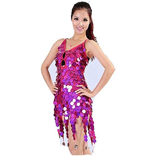 Verkauf Tanz Kostüm Zum Wettbewerbe - Tanzkleid Frauen Dancewear Pailletten Fransen Quasten Ballsaal Samba Tango Latin Dance Dress Wettbewerb Kostüme Themen Party Swing Dress Tanzkostüm für Damen ( Farbe : Rose , Größe : Einheitsgröße )