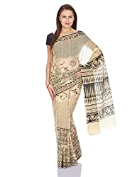 Pavechas Saree with Blouse Piece (MK2610_Beige_One Size)