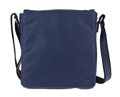 Greenburry Pure A4 Borsa a tracolla pelle 23 cm scomparto tablet Blue