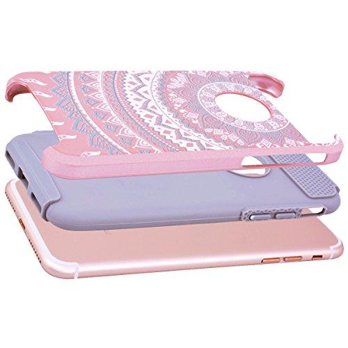 WE LOVE CASE Coque iPhone 7, Coque iPhone 7 Mandala de Protection en Hard Dur Coque iPhone 7 Fleur avec Motif Antichoc Bumper Mince, Ultra Original Officiel Fille Femme Coque Apple iPhone 7 Gris