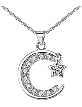 Jessibox Silber Halskette mit Damen Anhänger aus 925 Sterling Silber & Kristall, der Mond Stern Design, Geschenke...