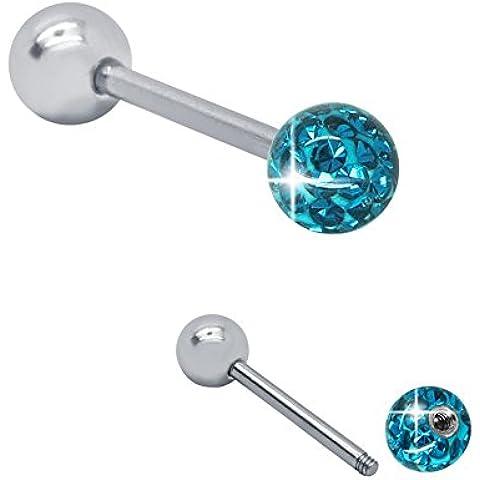 Soul-cats® idioma Anillo Piercing Barbell en acero quirúrgico cristal rhinestone, colores: azul turquesa; Longitud: 18 mm; tamaño de la bola: 6 mm; espesor de la barra: 1.6 mm