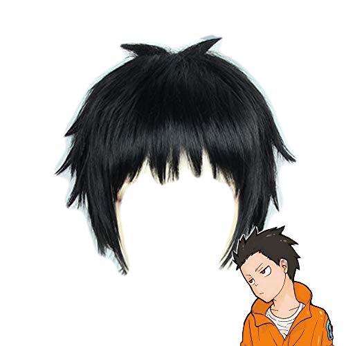 Shinra Kusakabe Perücke Cosplay Feuerwehr der Flammen Kurz Schwarz Glattes Haar Halloween Kostüm Kostümzubehör für Erwachsene Teen ()