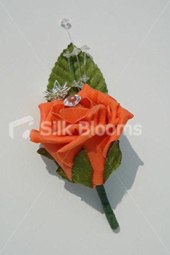 Beautiful Orange rose Green Leaf Grooms all' occhiello con cristalli