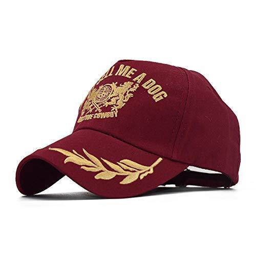 YanLong Golden Leaf Embroidered Lion Baseball Cap Männer und Frauen Cap Outdoor Sports Rot (Einfach Lion Kostüm Für Frauen)