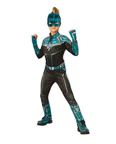 Horror-Shop Captain Marvel Kree Kinderkostüm Blau für kleine Superheldinnen M