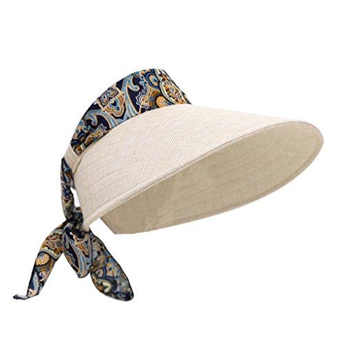 Faltbare Damen Sonnenhut Sommerhut Outdoor Sonnenblende Sonnenschild Strand Anti-UV Hut Schirmmütze mit Klettverschluss