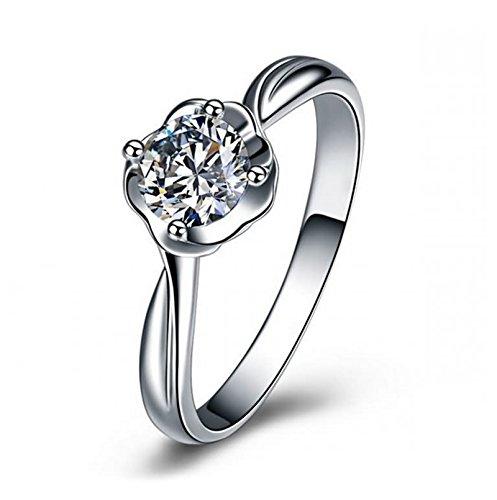 ng Silber Damen Rose Blume Weiß Zirkonia Rund Solitärring Eherring Silber Ring Partner Gr 53 (16.9) (Rose Und Jack Kostüme)