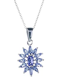Anderson & Webb Tanzanite and Diamond Cat Pendant Necklace with Silver Plated Ball Earrings KeMA3V0Z1n