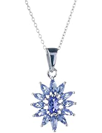Anderson & Webb Tanzanite and Diamond Cat Pendant Necklace with Silver Plated Ball Earrings