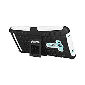 AMZER Impact Resistant Hybrid Warrior Case for Asus Zenfone Selfie ZD551KL - Retail Packaging - Black/White