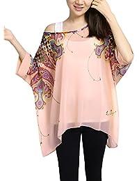 Allegra K Women's Printd Batwing Sleeve Semi Sheer Loose Chiffon Top