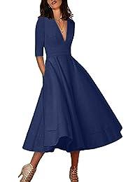 OMZIN Femme Robe de Cocktail Col V Vintage Robe de Soirée Robe Midi