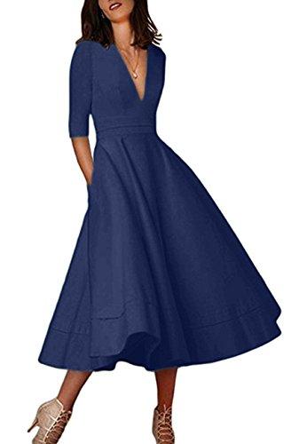 OMZIN Damen Maxi Kleid V Ausschnitt Abendkleid Halb Arm Cocktailkleid Navy Blau XL