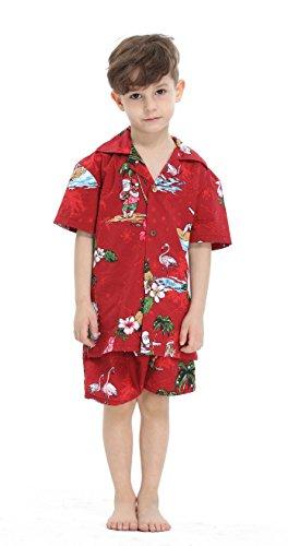 Hawaii-Hangover-Chico-joven-adulto-Camisa-de-Aloha-Luau-Camisa-de-Navidad-en-Santa-Roja-16-aos