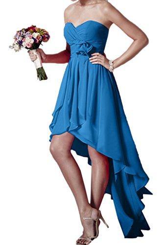 ivyd ressing Donna Hi-Lo cuore forma fiori Chiffon Party Festa Prom abito abito sera vestito Blau