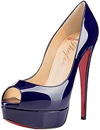 SHOFOO - Femmes - Stiletto - Plusieurs coloris - Cuir brillant synthétique - Semelle compensée 3 cm - Talon aiguille - Bout pointu ouvert