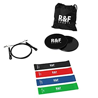 R&F Resistance Loop Bands, Core sliders & speed skipping rope Whole body exercise kit, core workout for women & men, strength training, home gym, pilates, yoga or rehab (One Kit)